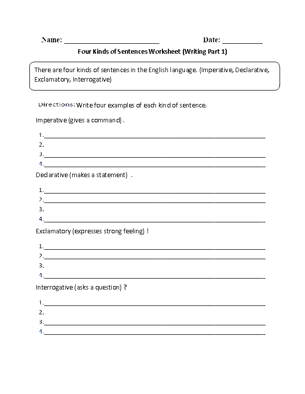 Writing With Four Kinds Of Sentences Worksheet Teaching Kids