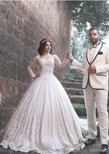 2017 Nova Árabe vestido de Baile de Luxo Vestidos de Casamento Do Pescoço Da Colher Mangas Compridas Apliques de Renda Pérolas Dubai Vestidos de Noiva 2016(China (Mainland))
