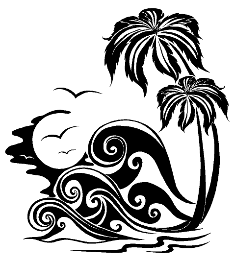 Palm Trees And Waves Nautical Ocean Life Custom Vinyl Decals For - Beach vinyl decals