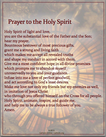 Clean image in come holy spirit prayer printable