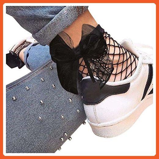 Women Fishnet Socks Inkach Womens Ruffle Ankle High Socks Mesh Lace Fish Net Short Sock