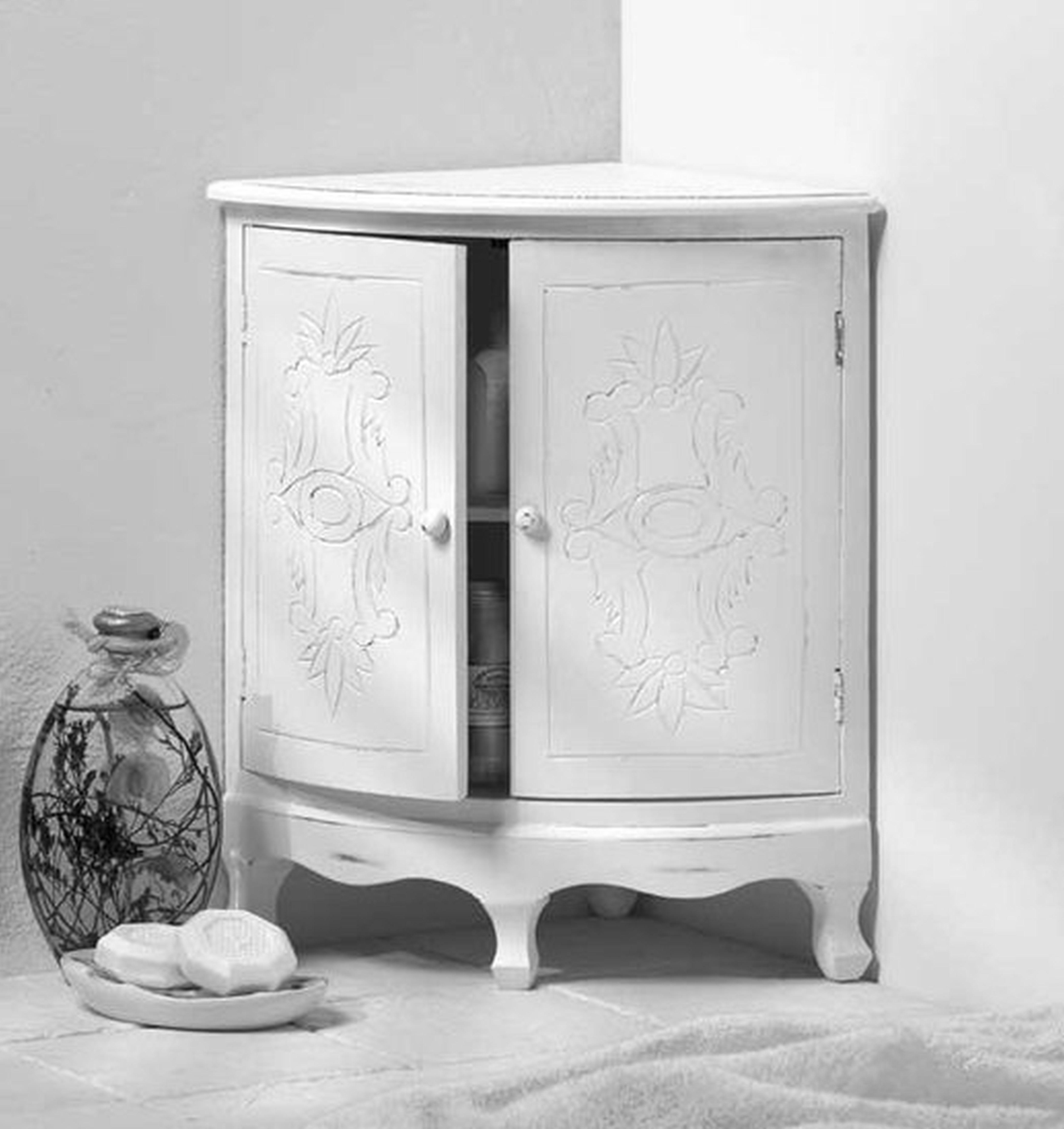 White Corner Bathroom Floor Cabinet   http://betdaffaires.com ...