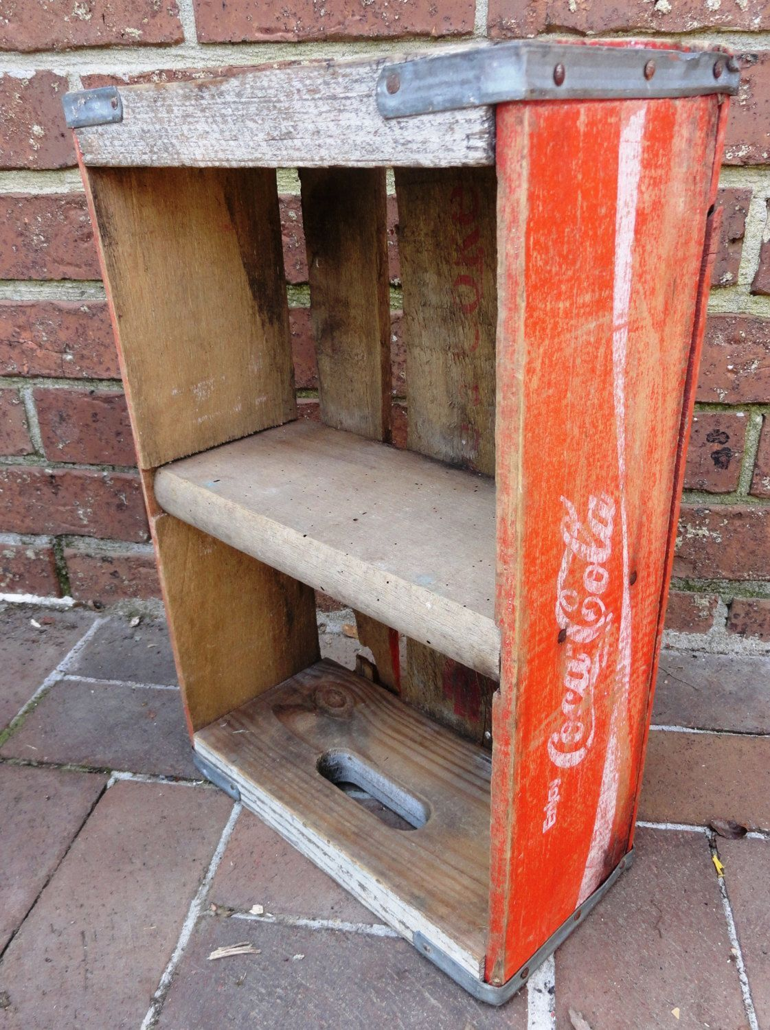 Cocacola Wooden Crate With One Main Divider Wooden Storage Shelf