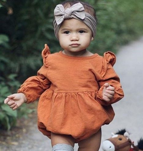 92af5428e2c0 Pumpkin Spice Fall Bubble Romper | Find Unique Trendy Baby Girl Clothing at  SugarBabies Boutique!