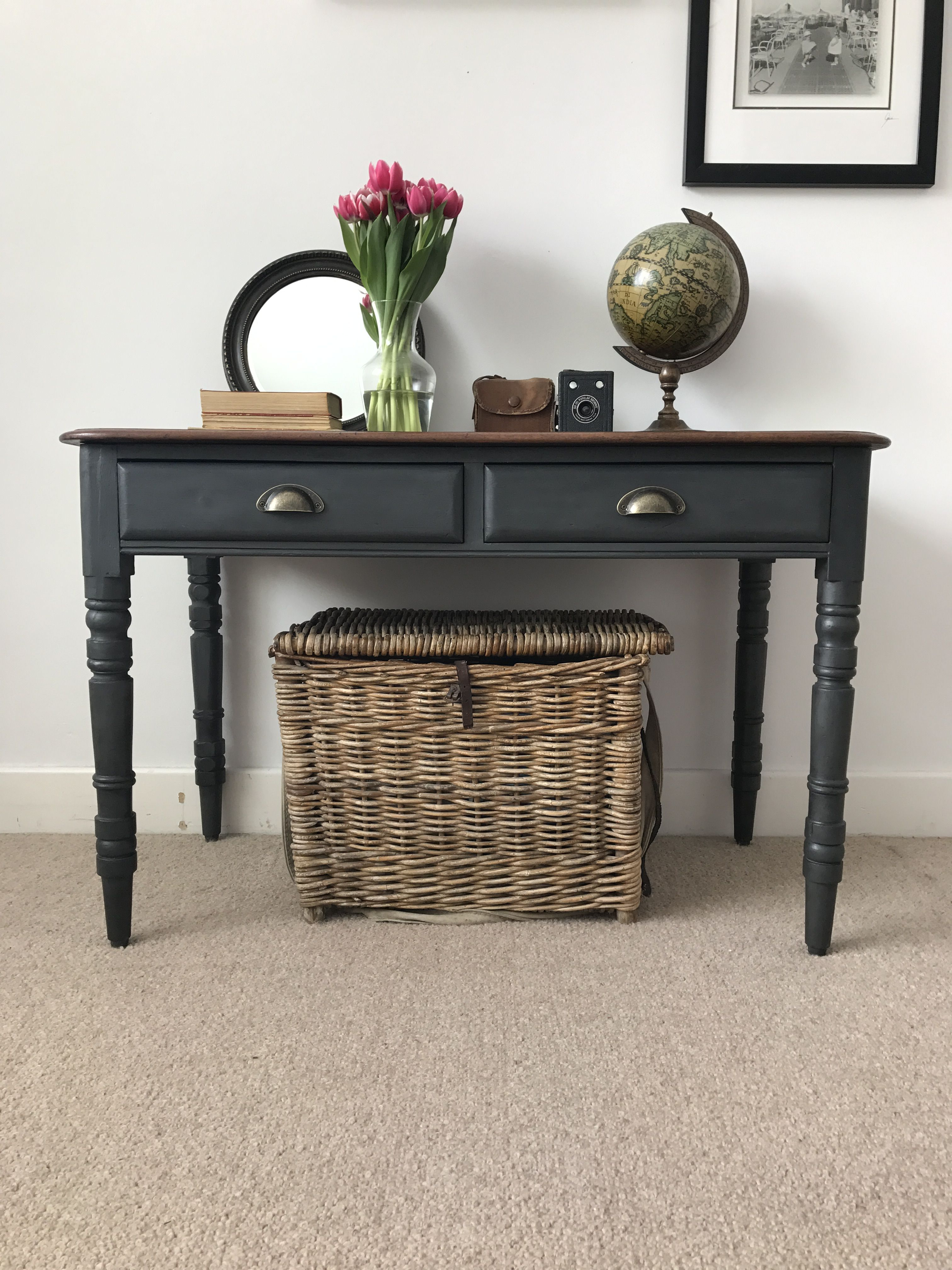 Brilliant Antique Charcoal Console Table Renovated Beautifully 295 Squirreltailoven Fun Painted Chair Ideas Images Squirreltailovenorg