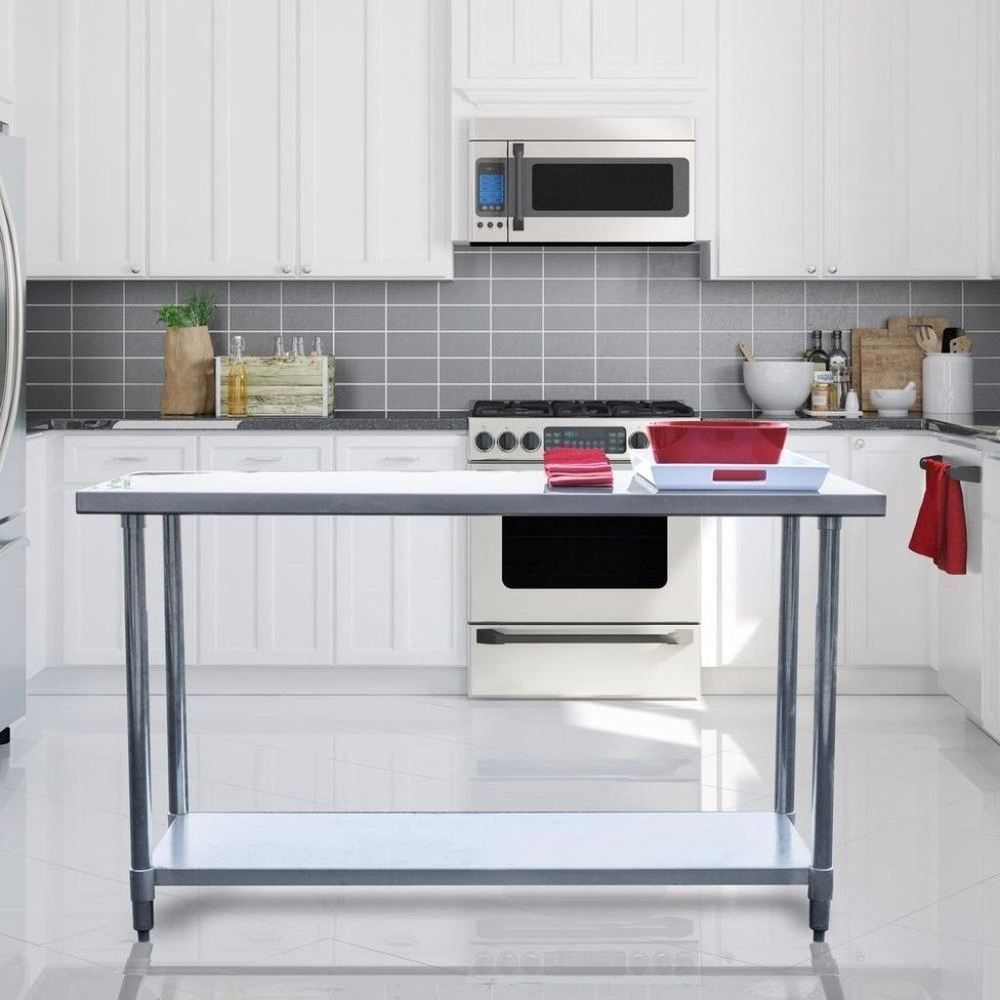 Adjustable Stainless Steel Kitchen Utility Table Heavy Duty Home Decor
