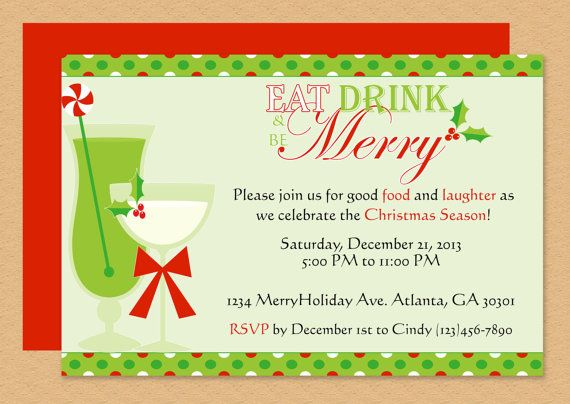 Eat, Drink \ be Merry Invitation Microsoft word, Christmas - birthday card format for word