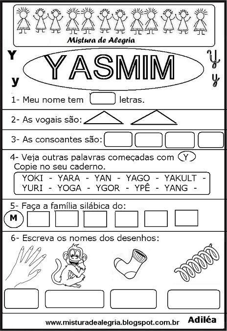 Brincando Com Os Nomes Imprimir Colorir Yasmim Jpg 464 677 Com