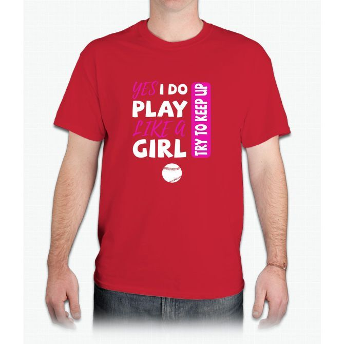 Yes I Do Play Like A Girl Softball Tshirt - Mens T-Shirt