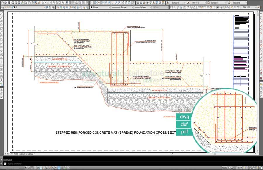 Stepped Reinforced Concrete Mat Spread Foundation Detail