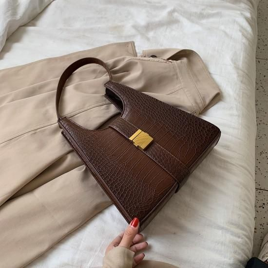 Crocodile Pattern PU Leather Shoulder Bags For Women 2020 Retro Quality Handbags Lady Designer Totes Female Hand Bag – Khaki / 26cmx28cmx8cm