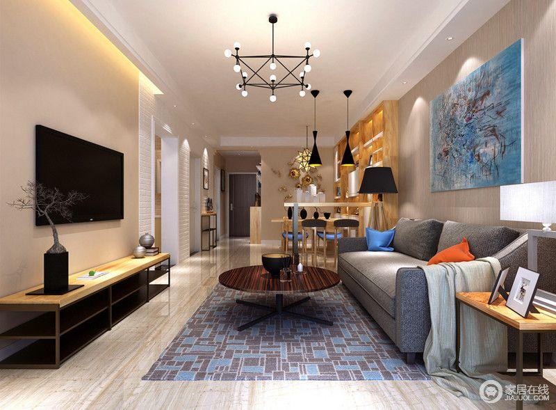 客厅以灰色木纹壁纸装饰墙面 而蓝色抽象画作的艺术范儿 提升了整个空间的时尚气息 灰色沙发旁因为黑白台灯组合而愈显现代 灰蓝色 几何地毯的优雅裹挟着圆几的俏皮 与简约电视柜组成动感 淡黄 498115 家居在线装修效果图