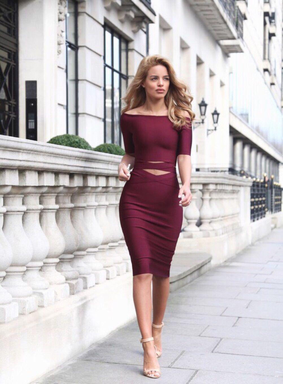 Nada Adelle In 2019 Fashion Burgundy Dress Bodycon