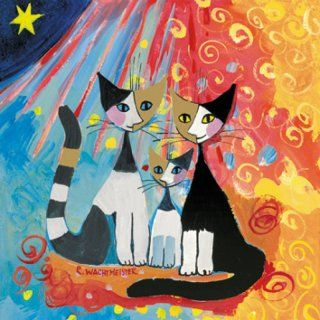 Serviette 3 Lagig Rosina Wachtmeister Katzenfamilie Jpg 320 320 Arte Em Pintura Gatos Coloridos Gatinhos