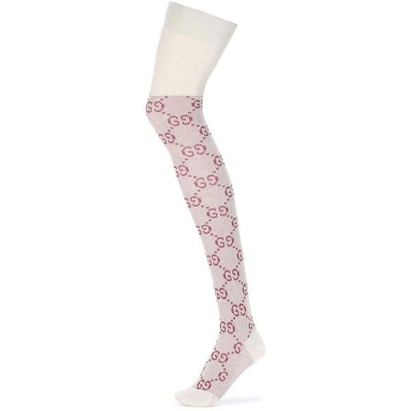 be5ec2a1725a9 Gucci GG Knee-High Socks ($160) ❤ liked on Polyvore featuring intimates,  hosiery, socks, pink, knee hi socks, above the knee socks, above knee  socks, ...