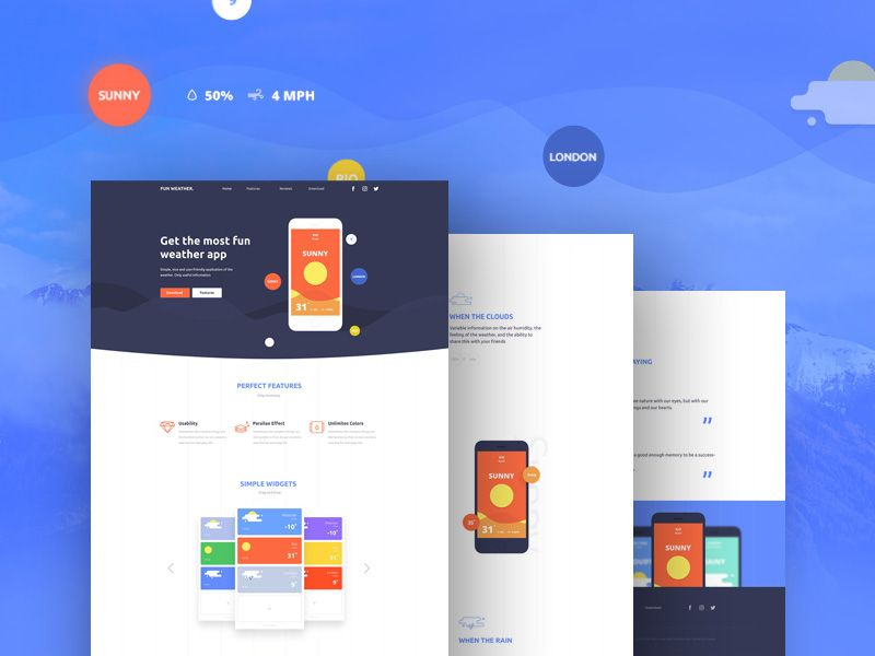 p>Download Weather Application Landing Page Template Free PSD. Here ...