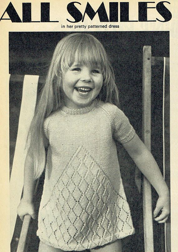 Pdf Vintage Baby Girl Dress Knitting Pattern Toddler 1960s Special