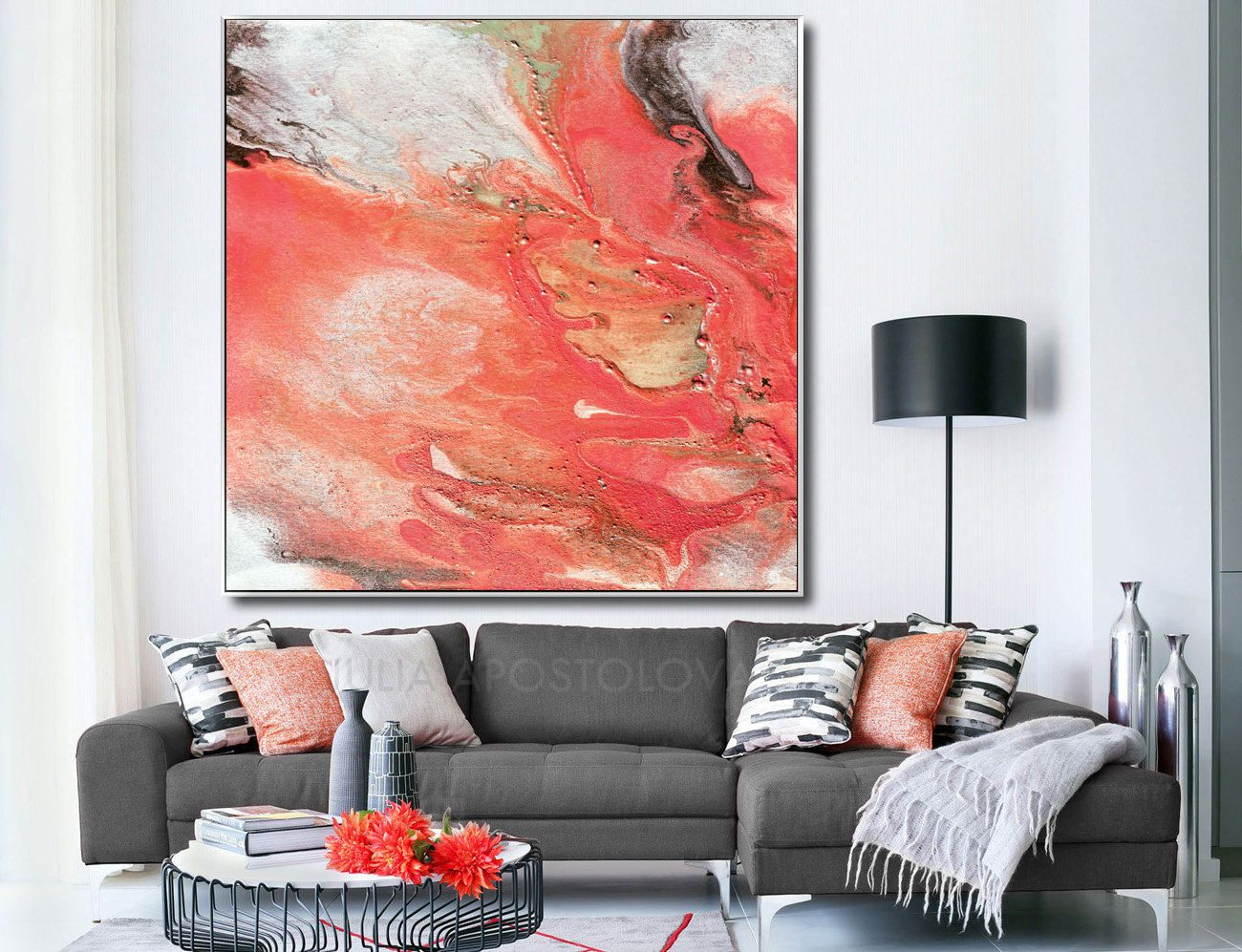 Large Watercolor Art Coral Print Salmon Color Decor Wall Art