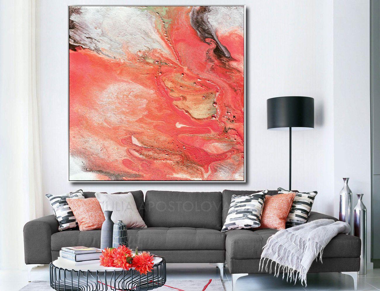 #Large #Canvas #Watercolor #Art #Coral #Print #Salmon #Peach