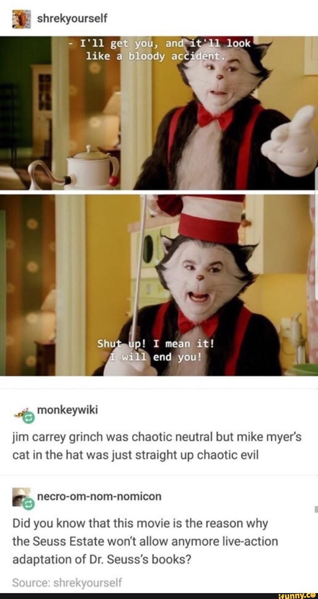Jim Carrey Grinch Was Chaotic Neutral But Mike Myer S Cat In The Hat Was Just Straight Up Chaotic Evil Necro Om Nom Nomicon Did You Know That This Movie Is Th Funny Memes