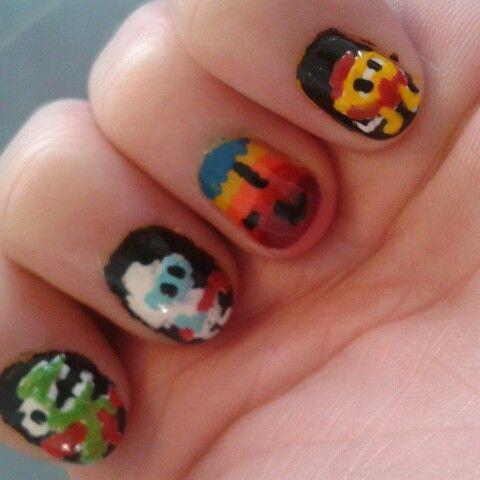 Dig Dug Nail Art Design Nail Art Digdug Gamer Nail Art