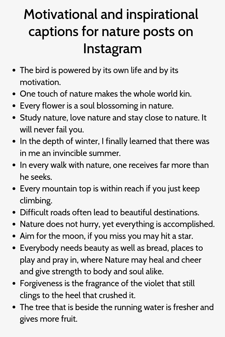 Motivational And Inspirational Captions For Nature Posts On Instagram Funny Instagram Captions Witty Instagram Captions Instagram Quotes Captions