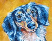 "Dapple Longhaired Dachshund and Sunflower Giclee Fine Dog Art Print of Acrylic Painting 8"" x 10"""