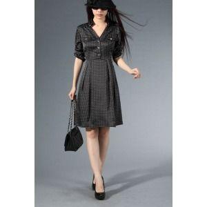 Elegant Black 70% Silk 30% Ployester Women's Printing Dress