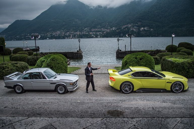 1970's BMW 3.0 CSL at the Concorso d'Eleganza Villa d'Este and the current 3.0 CSL the Hommage.