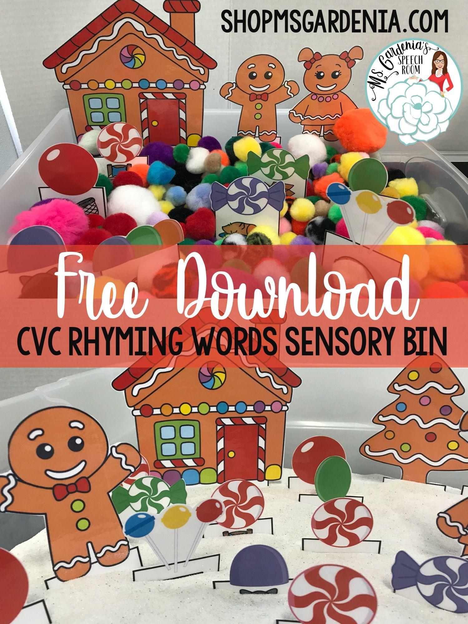 Gingerbread Man And Friends A Rhyming Words Sensory Bin
