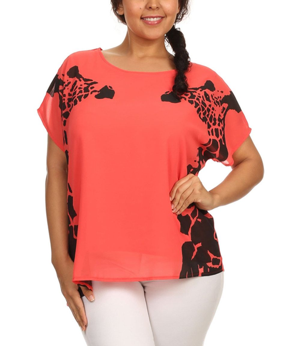 Another great find on #zulily! C.O.C. Coral & Black Giraffe Boatneck Top - Plus by C.O.C. #zulilyfinds