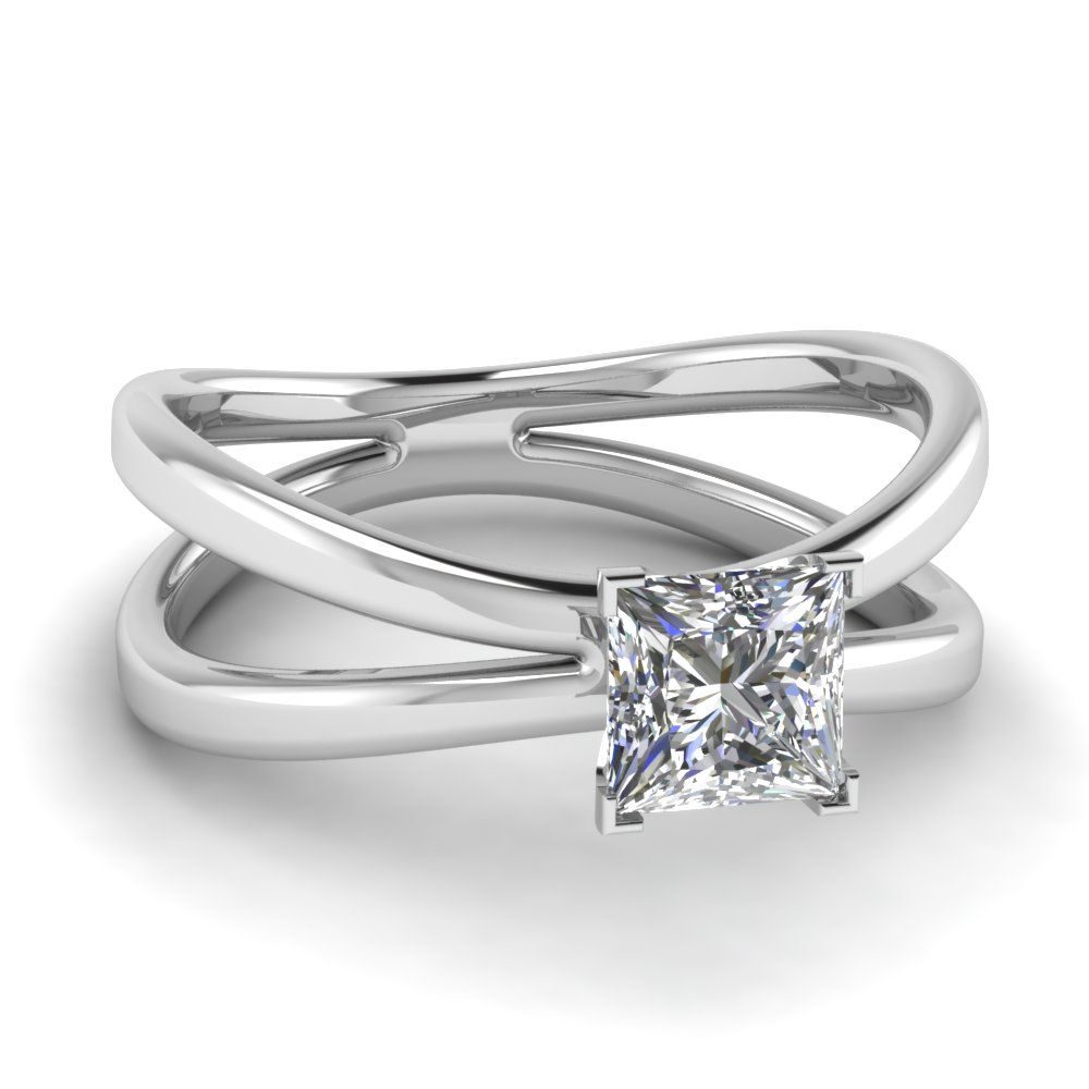 Princess cut diamond solitaire ring in k white gold butterfly
