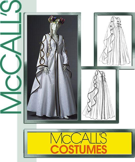 Renaissance Faire Wedding Dress Gown Costume History Mccalls: PATTERN McCALLS Princess Queen Gothic Dress 4997