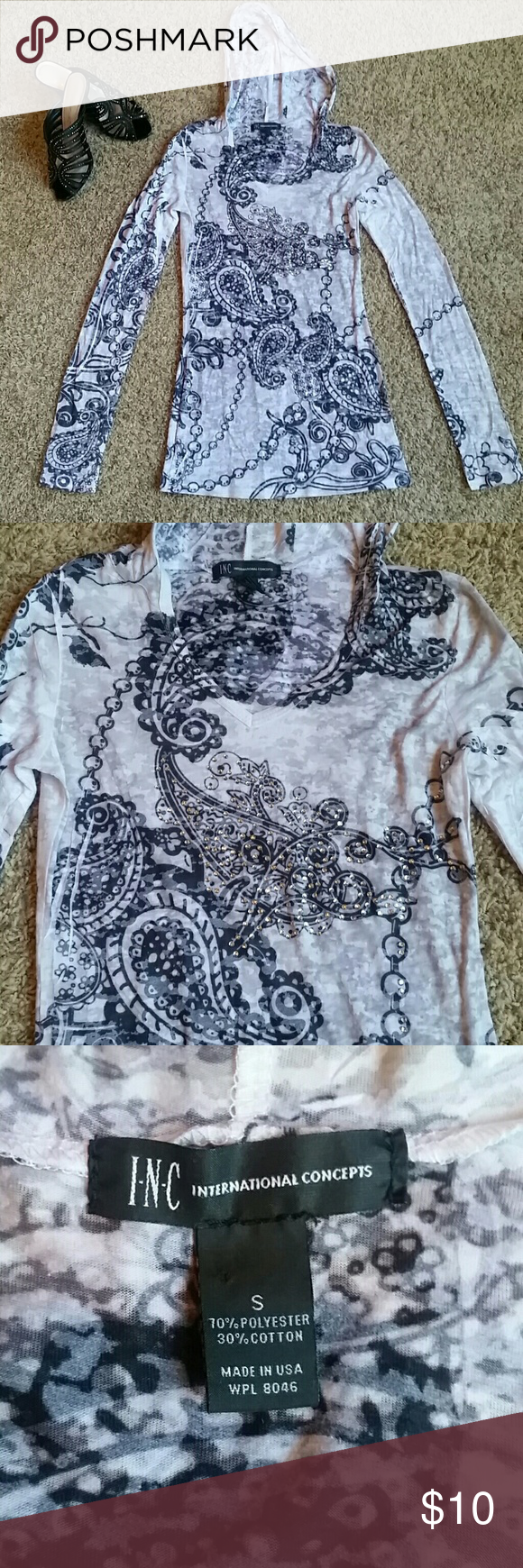 Paisley Print Rhinestone Studded Hooded Shirt NWOT Very thin and light weight... never worn.  It's a little too tight for me. BEAUTIFUL INC International Concepts Tops