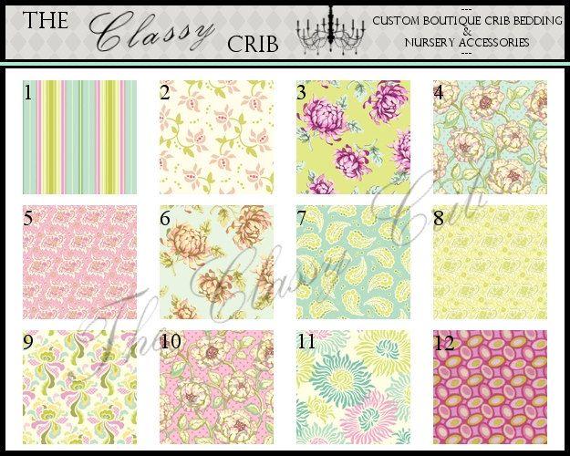 CUSTOM CRIB BEDDING - Freshcut, Pastel Palette. $250.00, via Etsy.