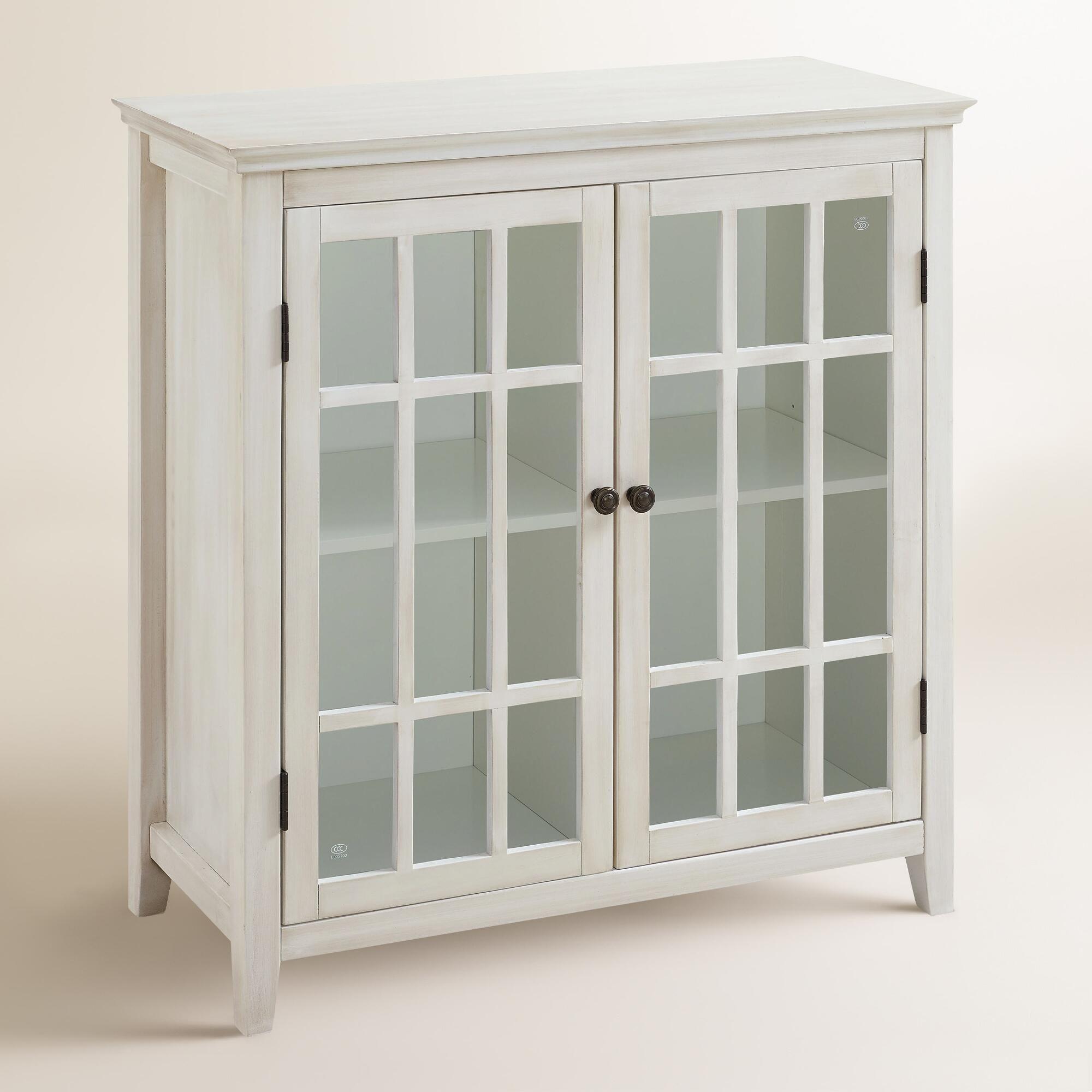 Antique White Double Door Storage Cabinet