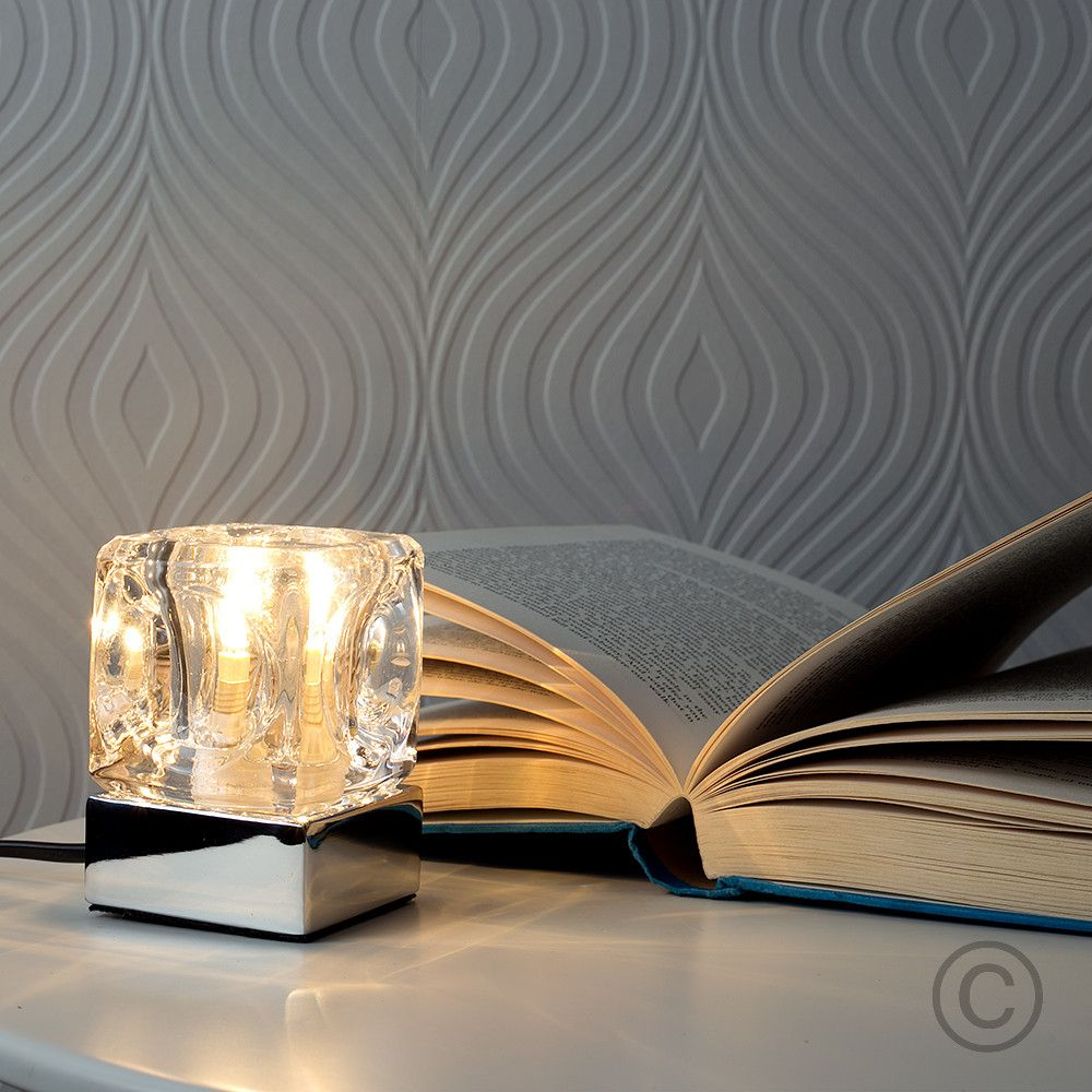Modern Glass Ice Cube Touch Table Lamp