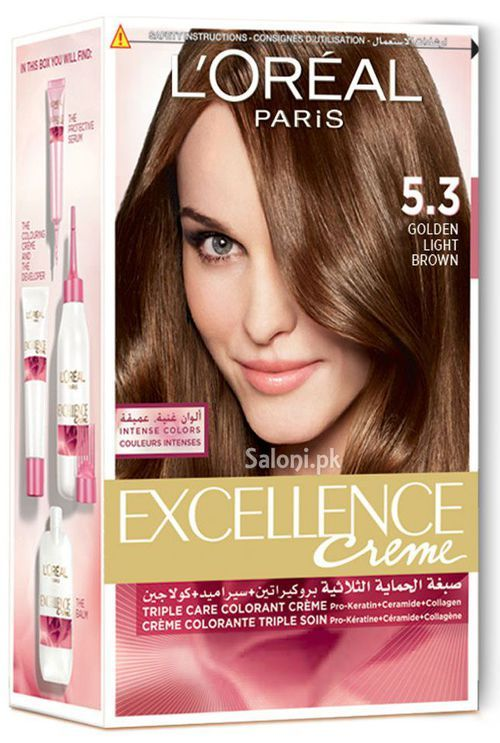 L39Oreal Paris Excellence Creme 53 Light Golden Brown  Hair Color  Pint