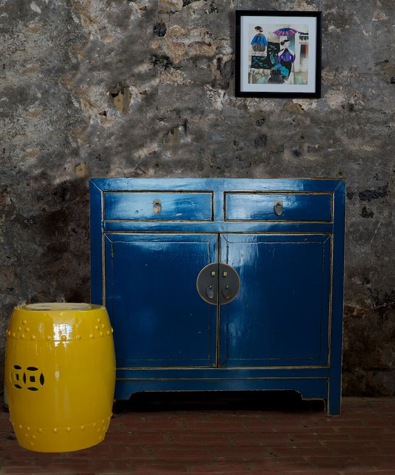Antique Beijing Cupboard Glossy Blue   Chinese Furniture Shiny Blue Cabinet  []   £650.00