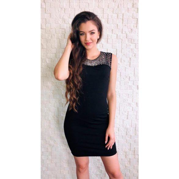 Fekete ujjatlan köves koktél ruha Soky soka  2c6de38992