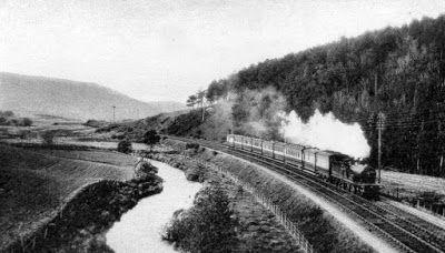 Tour Scotland Photographs: Old Photograph Train Approaching Gartly Scotland