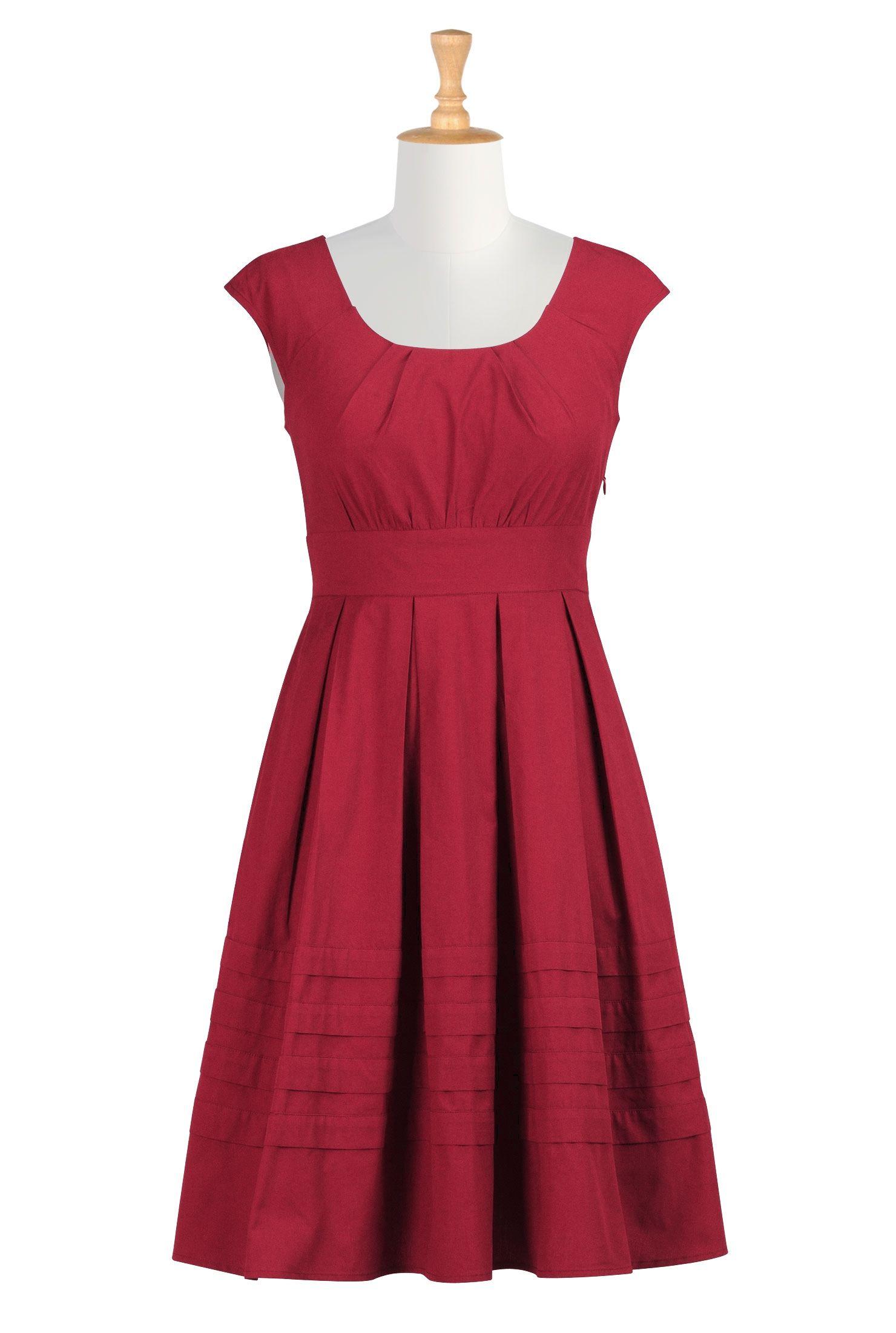 Aline pleated dresses belowkneelength dresses womens short