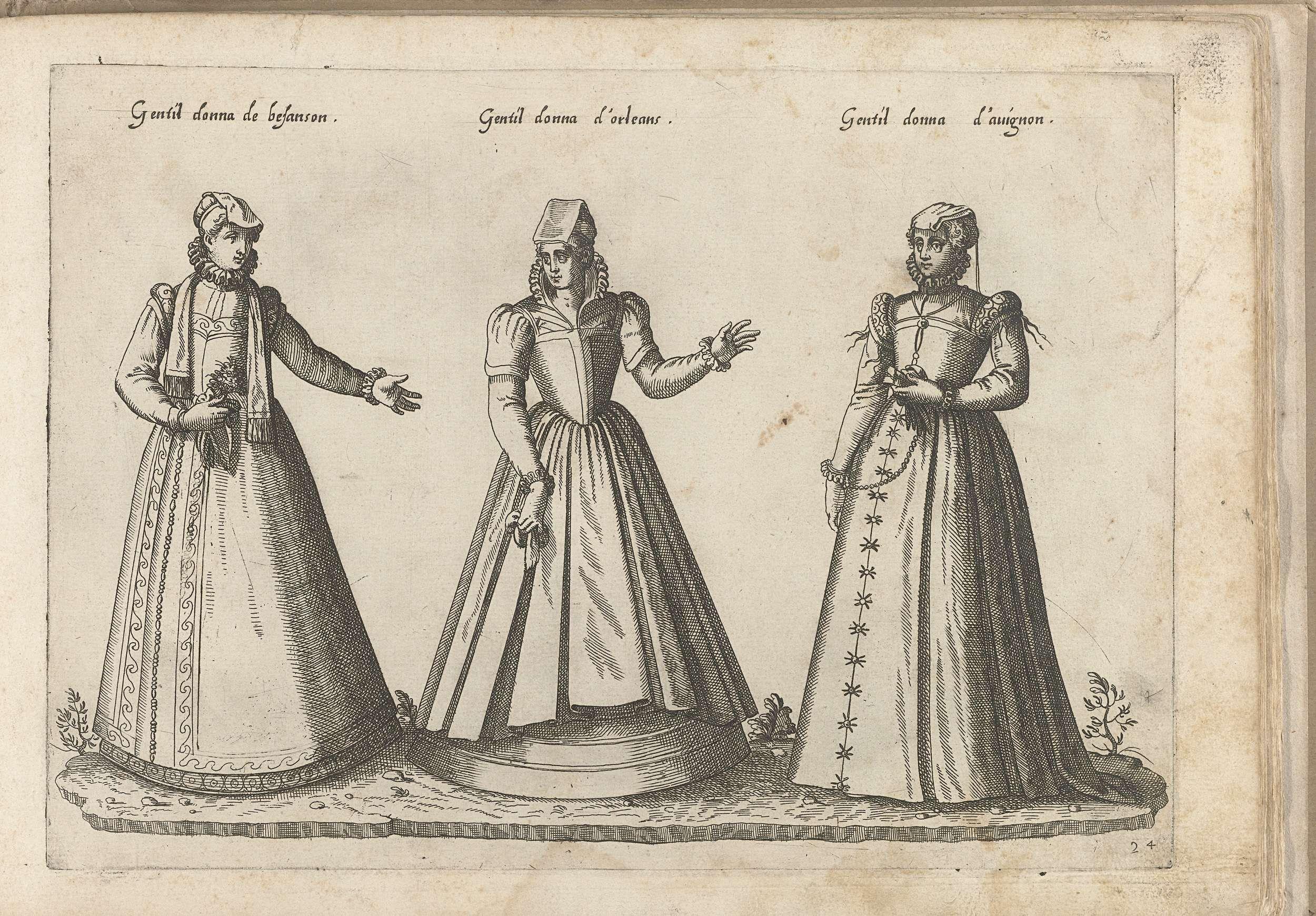 Een vrouw uit Besancon, een uit Orl�ans en een uit Avignon, gekleed volgens de Franse mode van ca. 1580, Bartolomeo Grassi, in of voor 1585