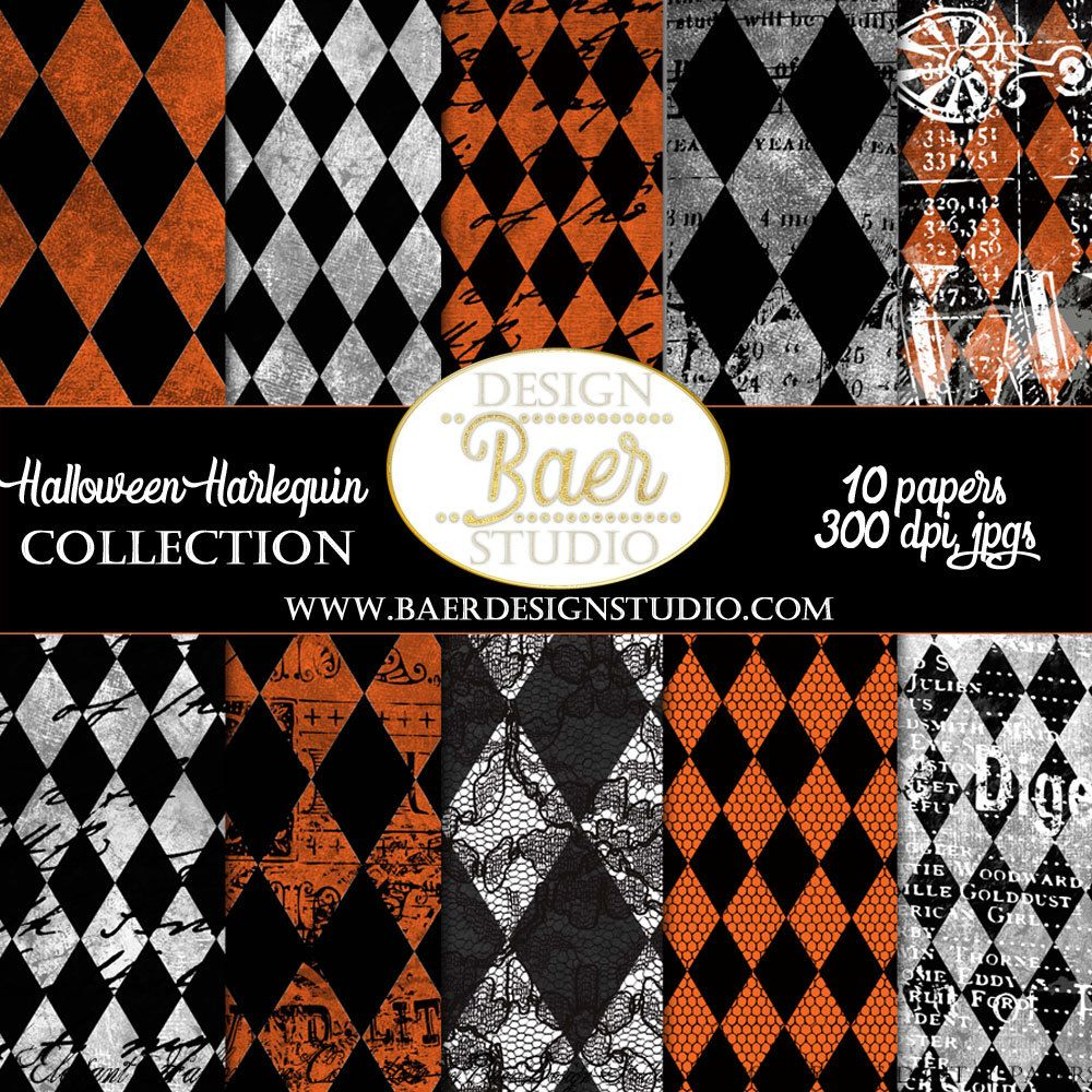 Harlequin digital paper in black and orange, black and white, grunge, french script for creating Halloween layouts, Halloween planner stickers, Halloween invitations, and more