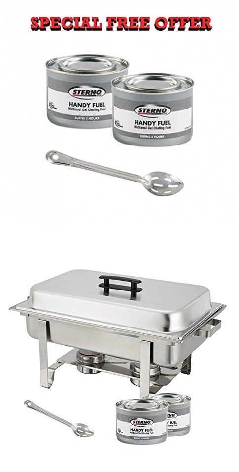 Winware Stainless Steel Full Size Chafer 8 Quart Chafing Dish Set With 2 2h Methanol Gel Fuels And 15 Inch Slotted Serving