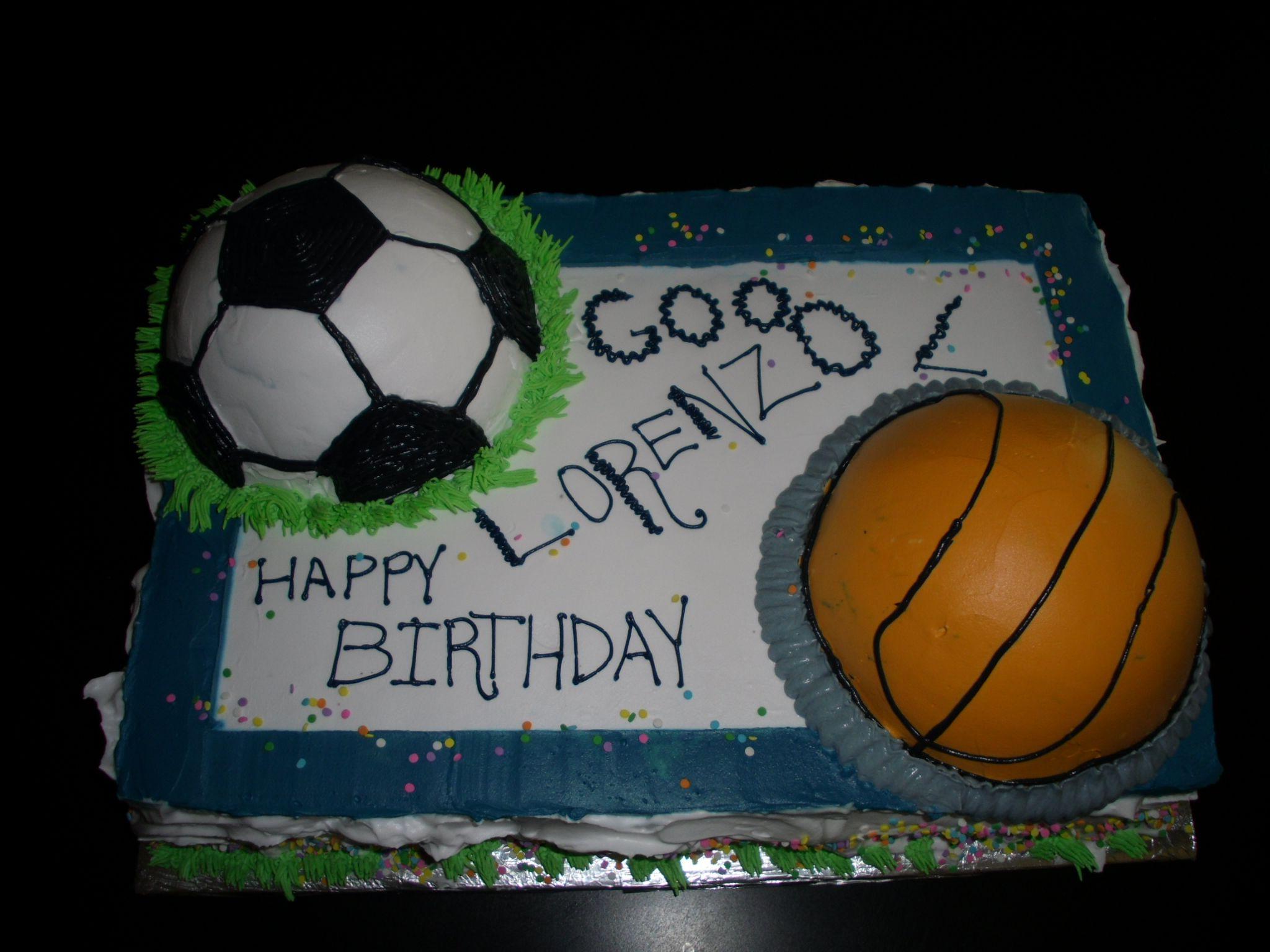 Soccer And Basketball Cake Basketball Birthday Parties Kylie Birthday Basketball Cake