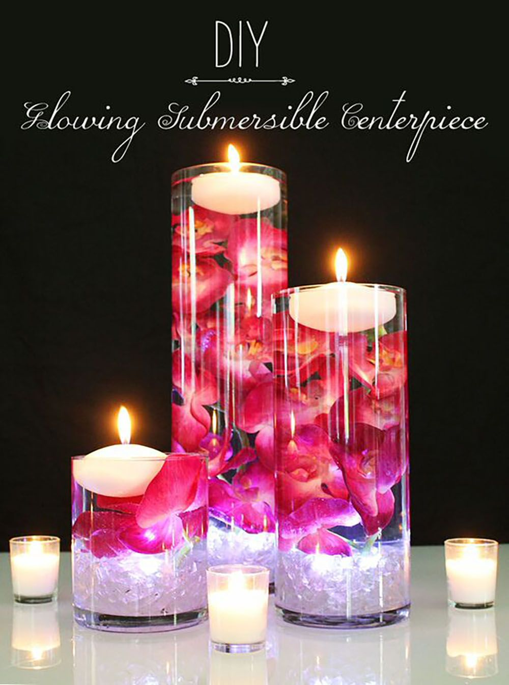 Diy glowing submersible centerpiece afloral wedding blog learn how to make a floating candle centerpiece for your wedding making a diy wedding centerpiece is easy this diy submersible centerpiece is gorgeous junglespirit Image collections