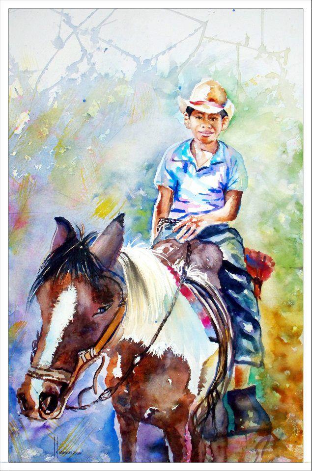 Nino Campesino A Caballo Pintura De Liliana Rodriguez De Bendana Pinturas Dibujos Artistas