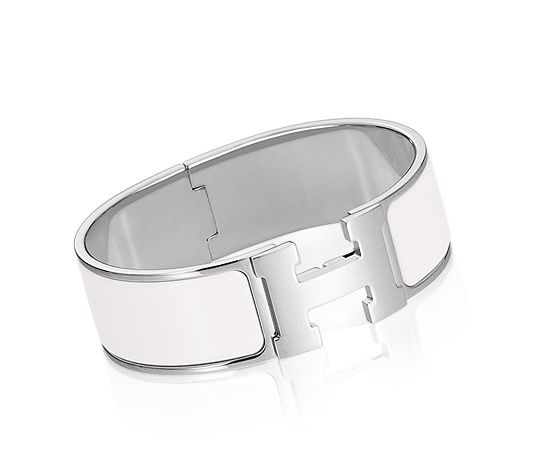 Clic Clac H Hermes Bracelet White Enamelpalladium Plated Hardware 2 5 Diameter 8 Cirference 1 Wide