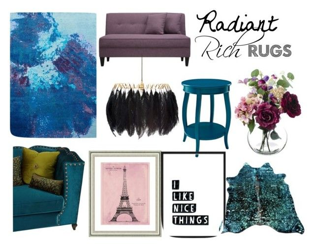 """Rich Radiant Rug"" by eleanor-l-grayson on Polyvore featuring interior, interiors, interior design, home, home decor, interior decorating, Haute House, Mineheart, Vintage Print Gallery and colorfulrugs"